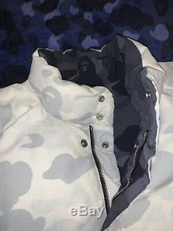 100% Authentic Bape Bathing Ape Black White Reversible Coat BBC Ice Cream Large