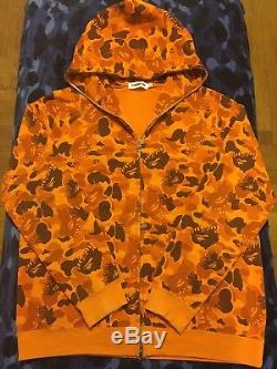 100% Authentic Bape Bathing Ape OG Orange Fire Camo Hoodie BBC Ice Cream Large