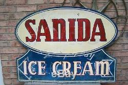 1952 Large Sanida Ice Cream Sign, Double Sided Painted Medal
