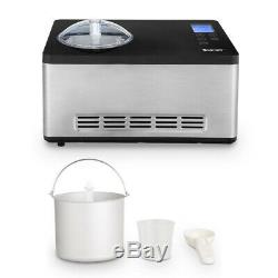 2.1 Quart Ice Cream Maker with LCD Timer Touchpad Control Large Capacity Silver