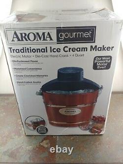 AROMA 4-Quart Wood-Barrel Large Ice-Cream Maker Electric or Hand Crank
