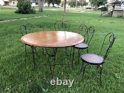 Antique Ice Cream Parlor Set Table & 4 Chairs Solid Oak Large 42.5 Top