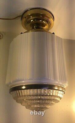 Antique Skyscraper Light Fixture Flush Mount Milk Glass Ceiling Ice Cream Parlor
