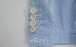 BBC/Ice Cream Searsucker Cotton Vertical Stripe Blazer Sport Coat light blue L