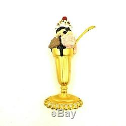 Bob Mackie Large Ice Cream Sundae Gold Plated Pin Brooch Signed Vintage