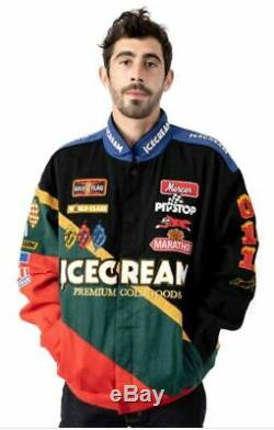 Brand New 2020 ICECREAM Waltrip Racing Jacket Black Green Red Ice Cream BBC