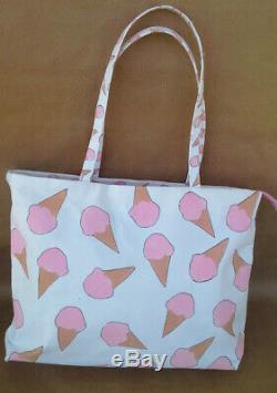Brand New One Of A Kind Hand-Stencilled Pink Ice Cream Handmade Tote Bag