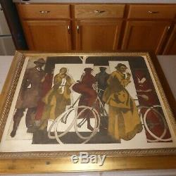 Cyclists Pause for Ice Cream Signed Silk Screened Print 21x27 Large Framed