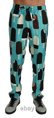 DOLCE & GABBANA Pants Blue Silk Ice Cream Print Lounge IT50 / W36/ L RRP $1200