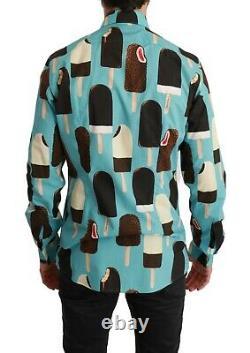 DOLCE & GABBANA Shirt Blue Cotton Ice Cream Print Casual 41/US16/L RRP $850