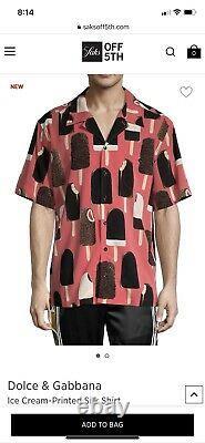 Dolce&Gabbana Mens Multicolor Shirt Silk Ice-Cream Print Button Up $1145