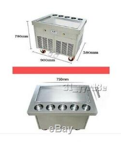 Double Pan Fried ice cream roll machine, large square with 5 topping buckets