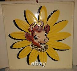 Elsie the Cow original early tin sign large great paint Borden's ice cream 17.5