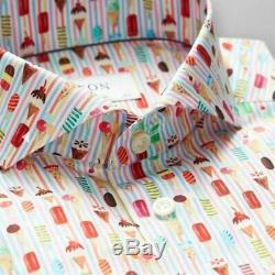 Eton Contemporary Fit Print Dress Shirt Ice Cream Size Large 42 Neck 16.5