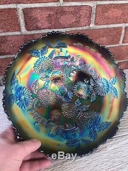 Fenton ELECTRIC BLUE CHRYSANTHEMUM Large Ice Cream Footed Bowl WOW