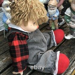 Ice Cream Doll Boy Large J Shin Co Hong Kong Yarn Hair Plaid Overall 25 Vtg 80s