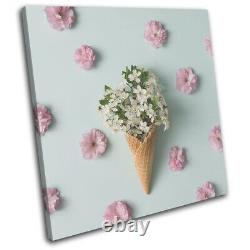 Ice Cream Flowers Summer Blossom Floral SINGLE CANVAS WALL ART Picture Print