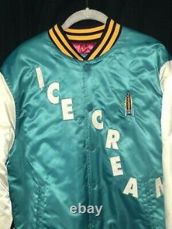 Ice Cream Varsity Jacket Nylon Billionaire Boys Club size L Blue Yellow Pink