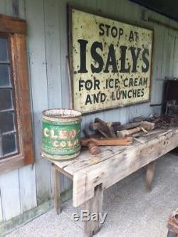 Isalys antique vintage large metal dairy sign ice cream wood frame #1