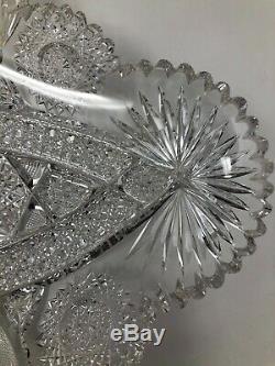J Hoare Carolyn American Brilliant Cut Glass Large Ice Cream Tray 17 1/2