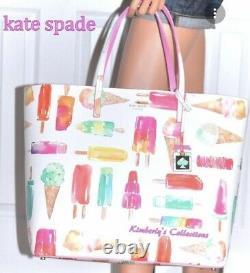 Kate Spade Francis Ice Cream Popsicle Large Multi Color Tote Bag Purse