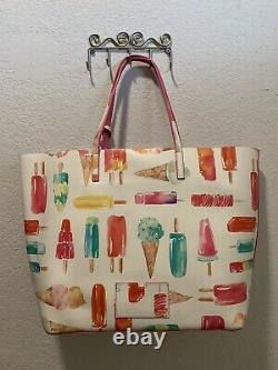 Kate Spade Francis Ice Cream Popsicle Large White Multi Color Tote Bag