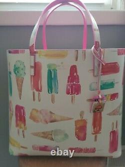 Kate Spade Francis Ice Cream Popsicle Large White Multi Color Tote Bag Purse