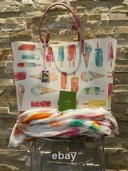 Kate Spade Francis Ice Cream Popsicle Large with scarf Multi Color Tote Bag Purse