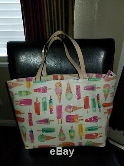 Kate Spade Ice Cream Popsicle Large White Multi Color Tote Bag Purse
