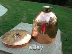 LARGE ANTIQUE COPPER JELLY/ ICE CREAM/ PUDDING DESSERT MOULD MOLD WithLID & STAND