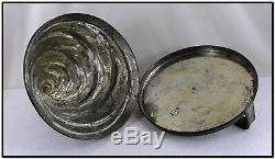 LARGE ANTIQUE TIN SPIRAL SWIRL SHAPE PUDDING ICE CREAM JELLY MOLD MOULD With LID