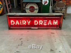 LARGE Vintage 1940's 1950's DAIRY DREAM Sign AnTiQue Old ICE CREAM Milk Soda Pop