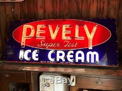 LARGE Vintage ORIGINAL PEVELY Super Test ICE CREAM Neon Sign PORCELAIN 1940's