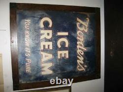 Large 1920s 1930s Framed Embossed BORDEN'S ICE CREAM Tin Sign