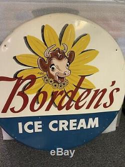 Large 36 Bordens Ice Cream Elsie Cow Metal Button Farm Milk Dairy