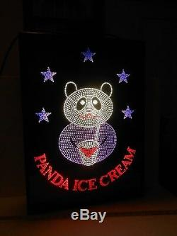 Large Fiber Optic Panda Ice Cream Sign Great Condition Works Perfectly Nice