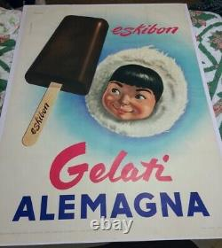 Large Mid Century Ice Cream Advertising Poster Eskibon Italy 1953 sign antique