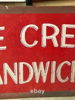 Large ORIGINAL Vintage ICE CREAM SANDWICHES Sign Fair Festival Concession Stand