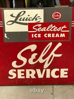 Large ORIGINAL Vintage SEALTEST Self Service ICE CREAM Sign Double Sided Wood