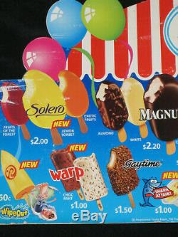 Large Streets Ice Cream Advertising Shop Price Sign Board Milk Bar Deli 1990's