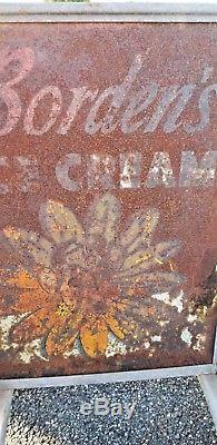 Large Vintage BORDEN'S Ice Cream 2 Sided Sidewalk Advertising Sign Elsie The Cow