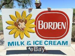 Large Vintage Borden's Milk & Ice Cream Elsie The Cow Gas Oil 80 Metal Sign NOS