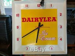 Large Vintage Dairylea Ice Cream Clock Man Cave Sign