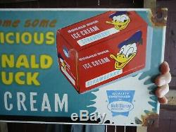 Large Vintage Delicious Strawberry Duck Ice Cream Porcelain Advertising Sign