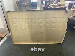 Large Vintage Hershey's Ice Cream Country Store Embossed Metal Sign 45 X29