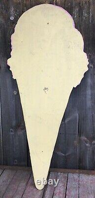 Large Vintage Ply Wood Die Cut ICE CREAM Shop Cone Trade Advertising Sign