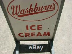 Large Vintage Washburn's Ice Cream Advertisement Porcelain Sign w. Metal Stand