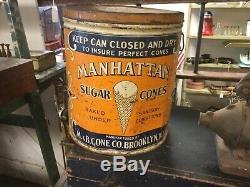 Manhattan Sugar cone tin ice cream cone tin Brooklyn NY rare color Large
