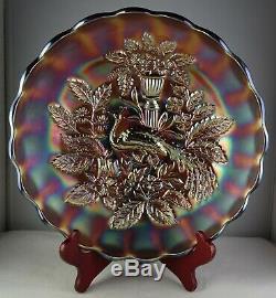 Millersburg Peacock & Urn Amethyst Large Ice Cream Bowl Vintage Carnival Glass
