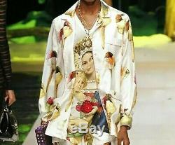 New$1500 Dolce&gabbana Silk Print Ice Cream Blouse / Shirt Uk12/ 46/ L